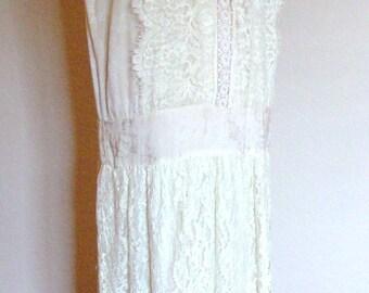 1920s Drop Waist Tea/Wedding Dress Downton Abbey Great Gatsby/Dapper Day/Bohemian