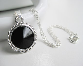 Pendant necklace, jet black Swarovski crystal, sterling silver, classic necklace, ready to gift necklace in handmade