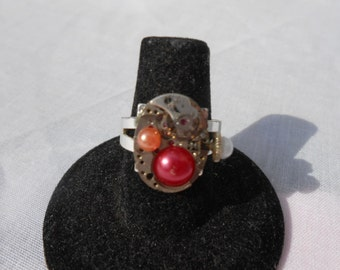 Steampunk Watch Movement Ring with Pearls - Adjustable Watch Ring - Pearl Adorned Watch Parts Ring - Upcycled Watch Ring - Steampunk Jewelry