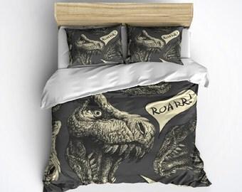 T-Rex Bedding - Roar!  Dinosaur Bed Set, T-Rex Comforter, Dinosaur Bedding, T-Rex Comforter Cover, Dino Comforter