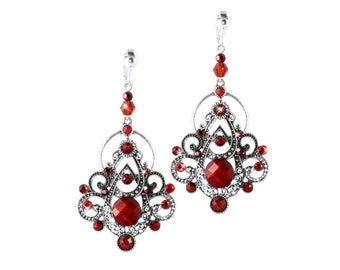 Edwardian Scarlet Red Dramatic Dangle Clip on Earrings, Marcasite Jewelry Style, Silver and Crystal Earrings, OPTIONAL HOOKS
