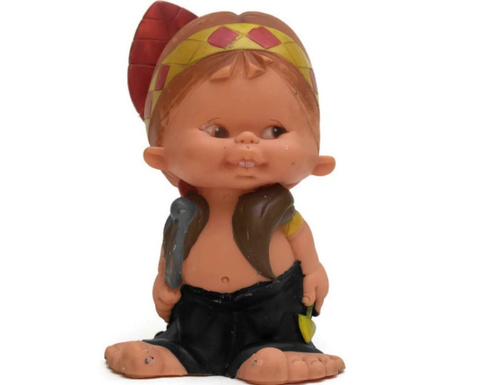 Native American Indian Chief Doll. Cowboy and Indian Doll. Rubber Toy. Rubber Squeak Toy. Rubber Doll.
