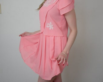 Pink Dress with Pleats - Vintage - Butterfly Lace