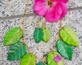 Summer Leaves parure necklace and earrings-polymer clay, Summer leaves, leaf Necklace and Earrings, Set-Polymer Clay
