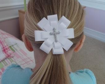 First Communion Hair Bow - First Communion Hair Clip - First Communion Hair Accessory - Glitter Cross Hair Bow - Large Cross White Hair Bow