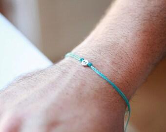 Silver Tiny Skull bracelet, men's bracelet , bracelet for men