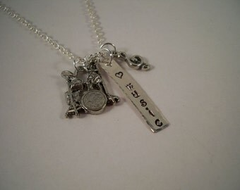 Drummer/Drumming, Hand Stamped Silver and Pewter Charm Necklace