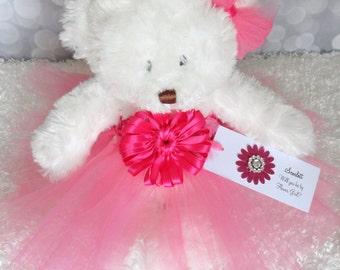 Shocking Pink Princess Tutu Teddy Bear, girls gift, flower girl gift, Wedding Keepsake, Shocking Pink Flower Girl Bear
