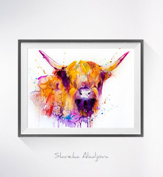Highland cow watercolor painting print highland cow art for Watercolor art prints for sale