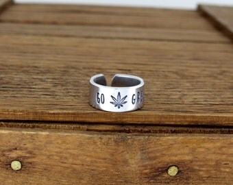 Go Green Pot Leaf Ring - Pro Pot - Legal Weed - Aluminum Adjustable Cuff Ring