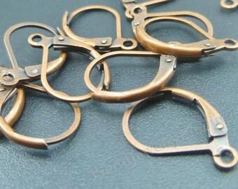 Copper Leverback Earwires - Earrings Findings -Antique Copper Ear hooks -EF009