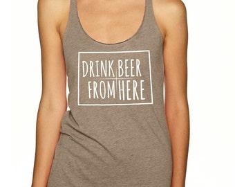 Craft Beer Shirt- Colorado- CO- Drink Beer From Here- Women's racerback tank