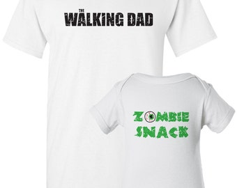 Zombie Dad and Baby Shirt,  Dad and Baby Matching Shirt Set, Funny Zombie Baby Shirt, New Dad Shirt
