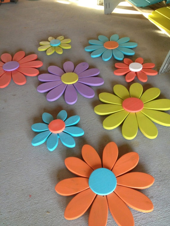 Large Flower Wall Decor : Large flowers daisy flower wall art distressed