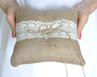 Rustic Burlap ring pillow Ivory or White cotton trim Burlap Ring Bearer Pillow Ring cushion Woodland / Rustic / Cottage style Weddings