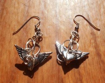 heart earrings, silver heart earrings, Silver Heart, Wing  earrings, Wire wrapped, fantasy earrings, fairytale jewelry, CLEARANCE, SALE
