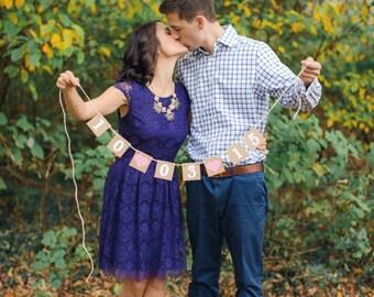 mini Save the Date Banner / Wedding Garland / Wedding Date Banner / Save the Date Props / Engagement Cards / Photo Prop / Wedding Decoration