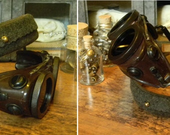 Rare Vintage Steampunk Style Goggles with Adjustable Leather Head Strap Apparatus - Beautifully Refurbished Willson Welding Goggles