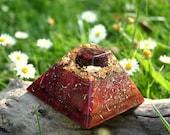 GARNET Orgone Pyramid - EMF Protection - Energy Healing Spiritual Gift - Energy Balancing Feng Shui Tool