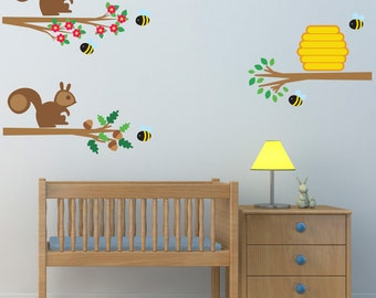 Squirrels and Bees On Branches Wall Stickers, Animal Wall Decals, Branch Wall Art, Nursery Transfers - Removable and Repositionable - FA130
