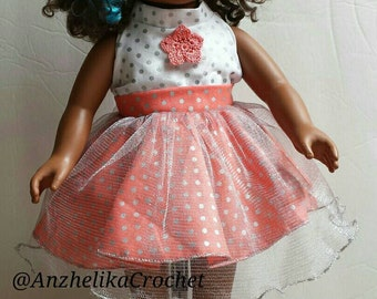 Coral Doll Dress, American Girl Doll Dress, 18 inch Doll Party Dress