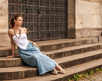 Blue silk dress, maxi dress, open shoulder dress, boho dress, light summer dress, Boho chic dress, Maxi summer dress, Sundress, Summer Dress
