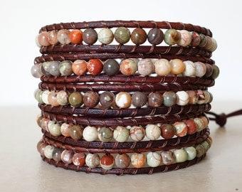 Boho rainforest jasper wrap bracelet/  Beaded blossom agate gemstone 5 wrapped bracelet/ Bohemian rustic earthy leather ladder bracelet