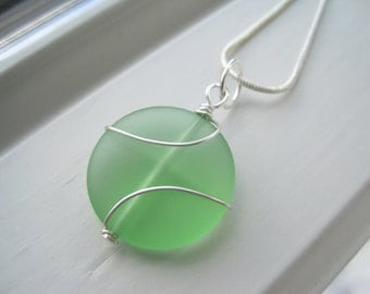 Light Green Necklace - Pendant Necklace - Recycled Glass Jewelry - Wire Wrapped - Frosted Glass - Light Green Jewelry