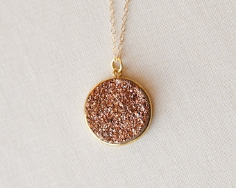 Rose Gold Druzy Necklace, Rose Gold Necklace, Rose Gold Druzy, Druzy Rose Gold, Rose Gold, Druzy Necklace Rose Gold, Large Druzy Necklace