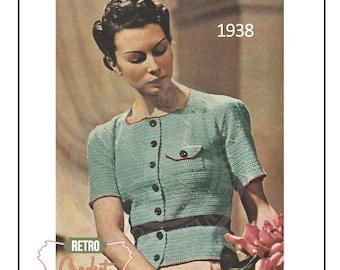 1930's Cardigan Blouse - Vintage Crochet Pattern - PDF Instant Download