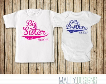 Big Sister Little Brother Matching Outfits, Silbing Shirts, Promoted to Big Sister, Coordinating Sibling