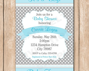 Shabby Chic Boy Baby Shower Invitation | Grey, Blue, Green - PICK Your Favorite Color - 1.00 each printed or 10.00 DIY file