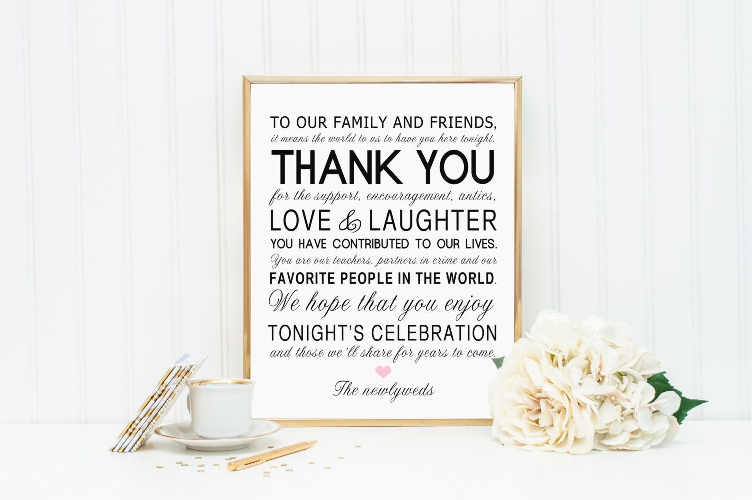 8 X 10 PRINTED Thank You Wedding Reception Sign For Family And