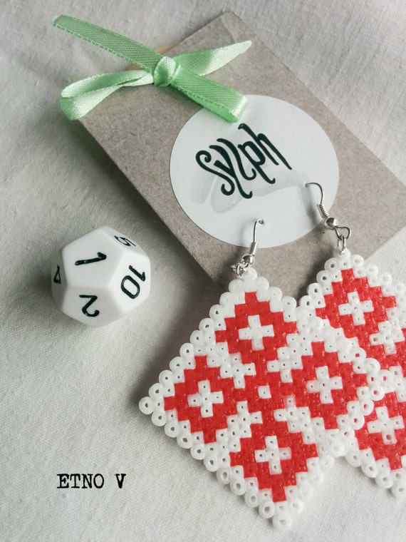 Earrings made of Hama Mini Beads - Etno V