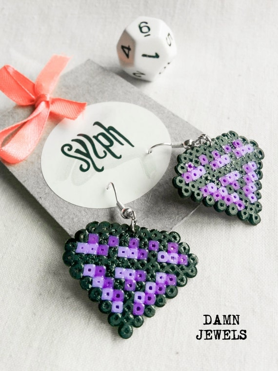 Purple pixelated 8bit crystal shaped Damn Jewels dangle earrings made out of Hama Mini Perler beads, pixel jewelry for the bold and colorful