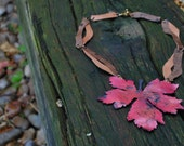 Stunning leaf necklace from recycled copper and leather