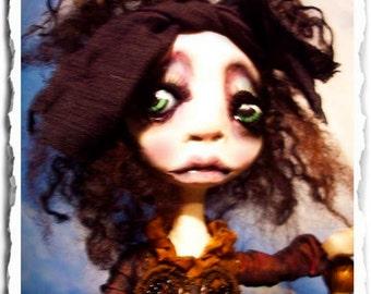 Gothic Art Doll OOAK - Creepy Cute