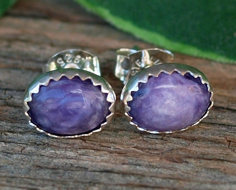 charoite gemstone stud earrings charoite sterling silver
