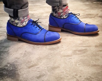 Mens Shoes - Mens Oxford Shoes - Blue Suede Shoes - Leather Shoes - blue flat Shoes - blue wedding shoes - Made to order