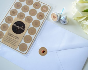 24 Kraft Stickers with Copper Rose Gold Foil Hearts - Handmade Envelope Seals - Wedding invitations & favours - Hershey Kiss