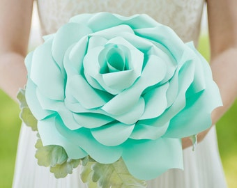 Custom Seafoam Big Paper Flower, Paper Bouquet, Handmade Flower, Bridal Bouquet, Wedding Bouquet - 12 inch