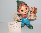 "Josef Originals ""Wee Folks"" ~ Vintage Figurine Boy ~ ""From Little Acorns The Mighty Oak Trees Grow"" ~ Made in Japan"