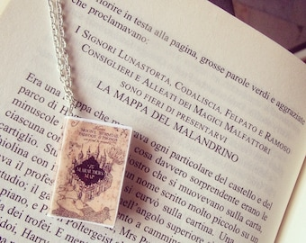 Collana/portachiavi miniatura libro La mappa del malandrino - Harry Potter marauder's map book necklace keychain