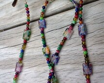 Beaded Eyeglass Chain Holder, Millefiori Reading Glasses Chain, Colorful Eyeglass Fashion Accessory