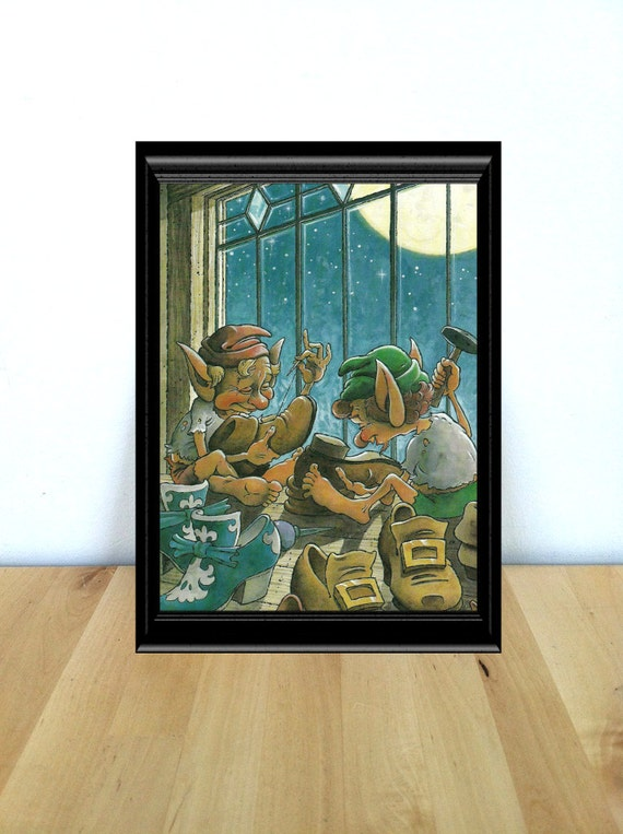 Items similar to the shoemaker and the elves fairy tale themed nursery home decor print Home decor 1990s
