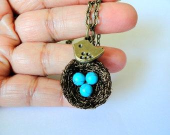 3 eggs Birds nest necklace, mom of five , turquoise nest necklace, robin bird nest jewelry, turquoise birds nest, handmade jewelry