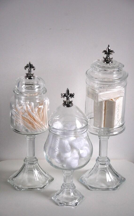 Fleur De Lis Glass Apothecary Jars Set Of 3 Shabby Chic Boudoir Pedestals French