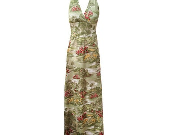 Vintage 1970s country scenes print halter maxi summer dress