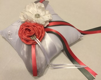 Ring pillow, Coral and Gray, Wedding accessories, custom made ring pillow