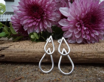 Double Teardrop sterling silver earring